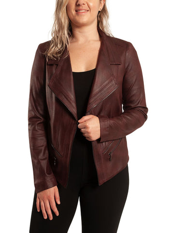 PLEATHER JACKET WITH ZIP      DETAIL