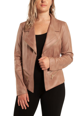 FAUX SUEDE JACKET WITH ZIP    DETAIL