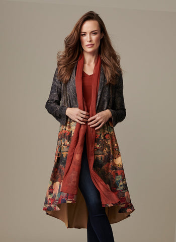AUTUMN SCAPE DUSTER WITH SCARF
