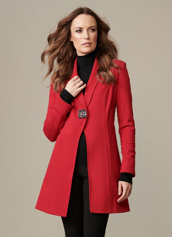 RED PDR LONG JACKET WITH      SINGLE ORNATE BUTTON