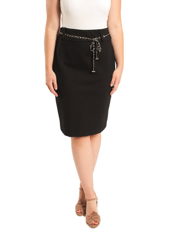 PONTE SLIM SKIRT WITH CHAIN   BELT DETAIL