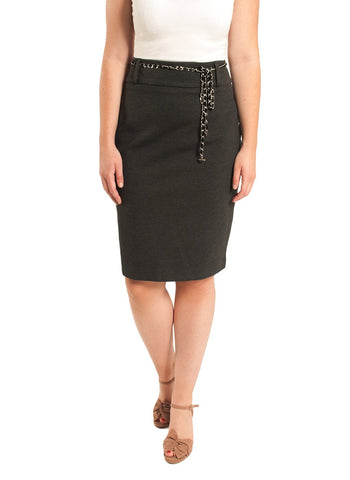 PONTE SKIRT WITH BELT DETAIL