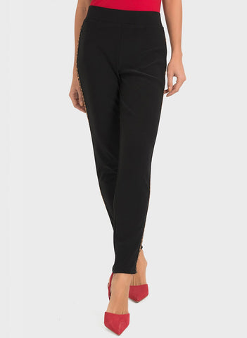SLIM LEG PANT WITH ANIMAL SIDEPANEL