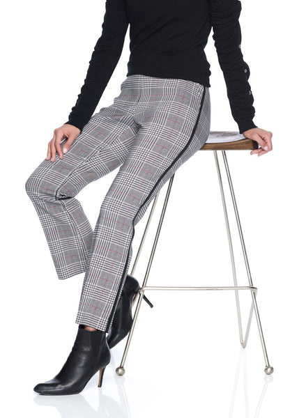 PULL ON PLAID ANKLE PANT WITH TAPE
