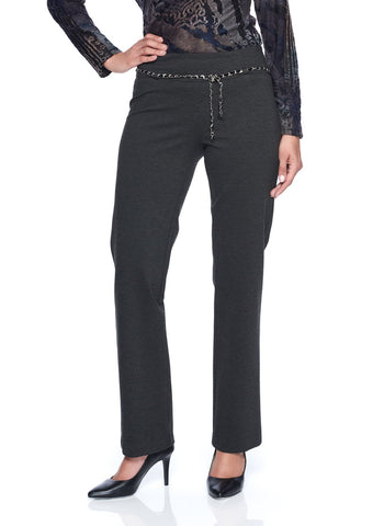 PONTE PANT WITH CHAIN DETAIL  BELT