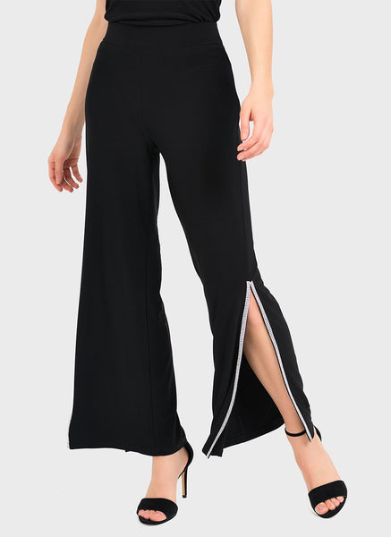 WIDE LEG PANT WITH RHINSTONE  SLIT