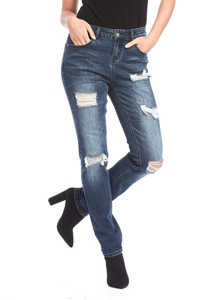 DISTRESS JEAN WITH BLING