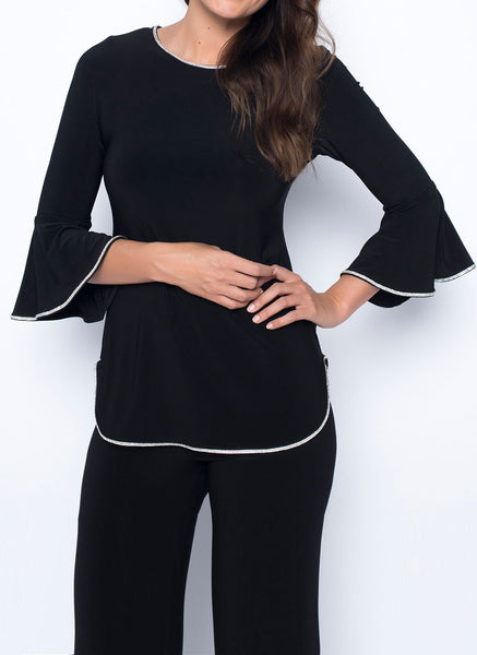 BELL SLEEVE TOP WITH          RHINESTONE TRIM