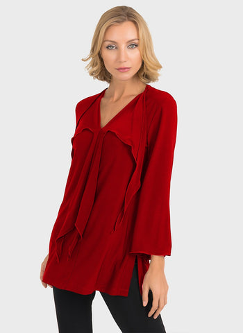 CASCADE FRONT LONG SLEEVE BLOUSE