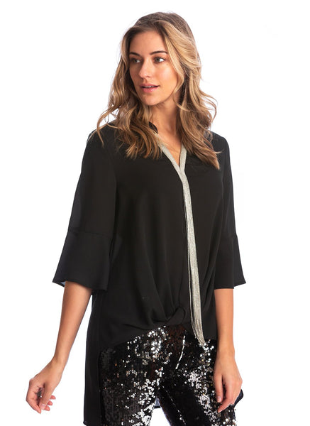 TWIST FRONT BLOUSE WITH CHAIN LINK DETAIL