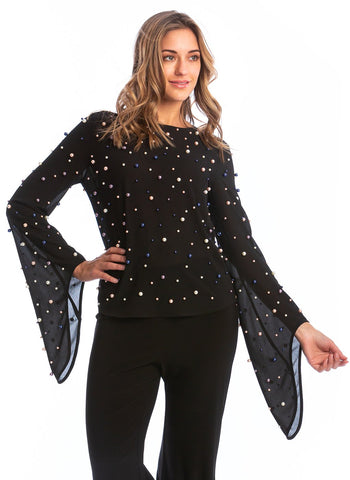 CHIFFON BLOUSE WITH ALL OVER PEARL DETAIL