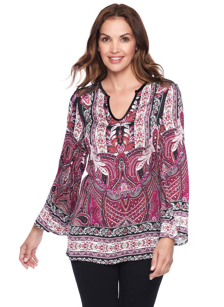 BELL SLEEVE BLOUSE WITH COMBO YOKE