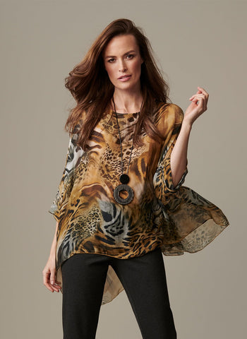 ANIMAL SILK PRINT TOP