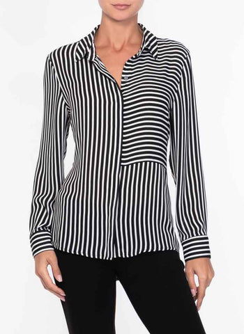 TWO WAY STRIPE BLOUSE