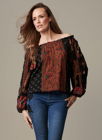 EXOTIC PEASANT TOP WITH CUT   WORK ON SLEEVE