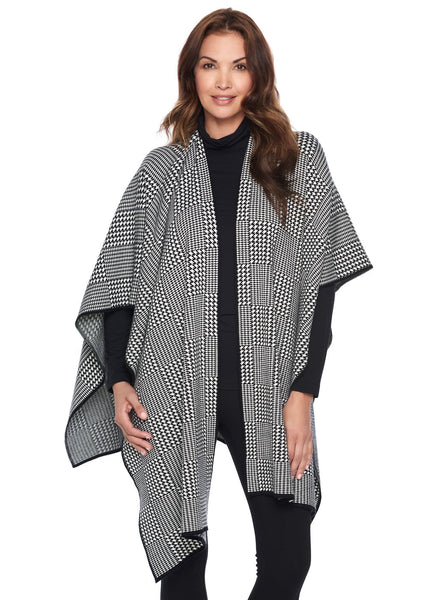 HOUNDSTOOTH DOUBLE KNIT WRAP