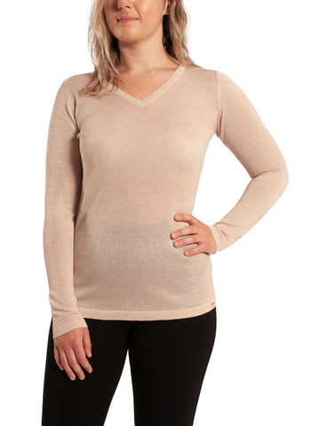 V NECK FINE GAUGE SWEATER