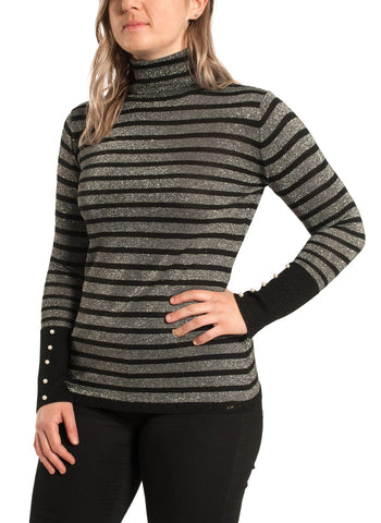 GREY/BLACK STRIPED SWEATER