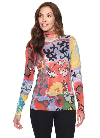MULTI PRINT T NECK CASHMERE   BLEND SWEATER