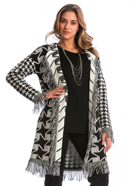 MIXED PRINT CARDI WITH FRINGE