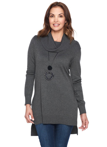 KNIT TUNIC WITH COWL NECK AND SIDE SLITS