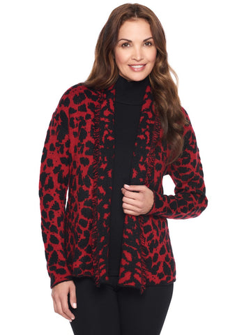 ANIMAL JACQUARD SWEATER CARDI