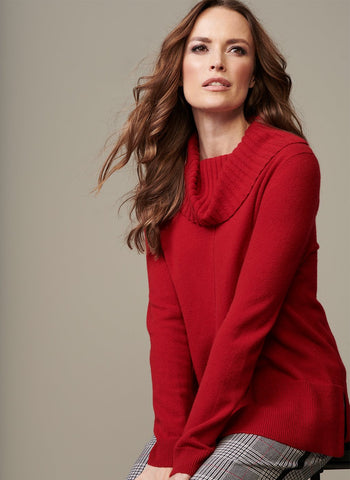 LONG CASHMERE COWL NECK SWEATER