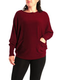 CRANBERRY CASHMERE BLEND KNIT TOP