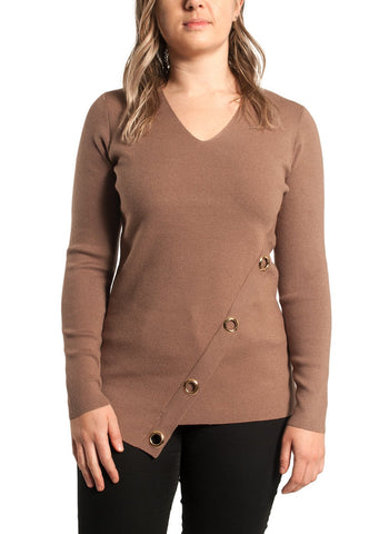 V NECK SWEATER WITH GROMMET   DETAIL
