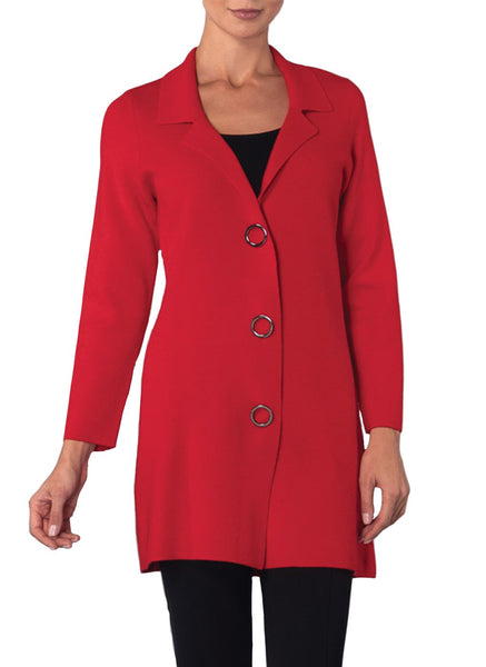 RED SNAP CLOSURE LONG CARDI