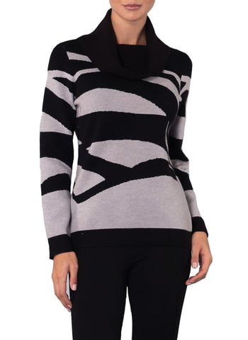 ABSTRACT ART COWL NECK SWEATER