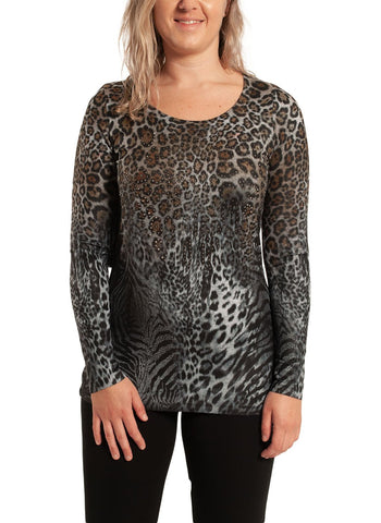 ANIMAL PRINTED LONG SLEEVE TOP