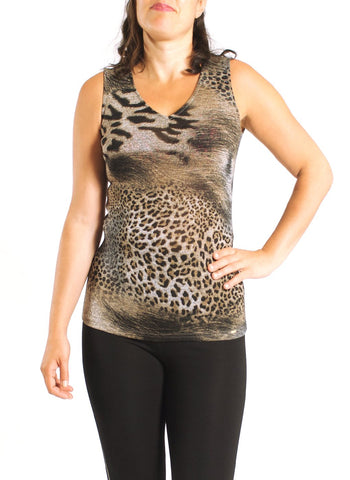 ANIMAL PRINTED SLEEVELESS TOP