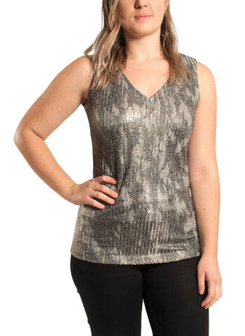 SLEEVELESS V NECK METALLIC TOP
