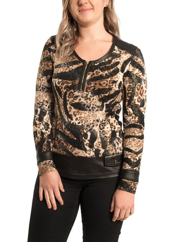 ANIMAL PRINTED TOP WITH       PLEATHER AND ZIP TRIM