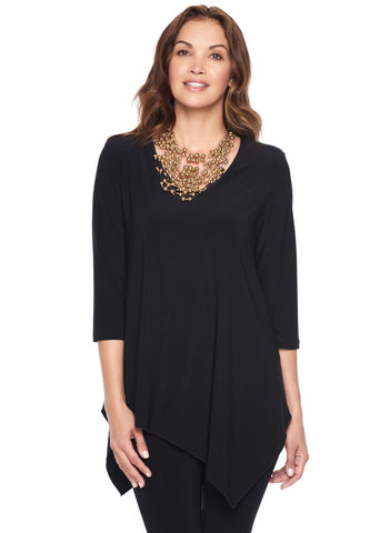 ASYMMETRICAL HEM 3/4 SLEEVE TUNIC