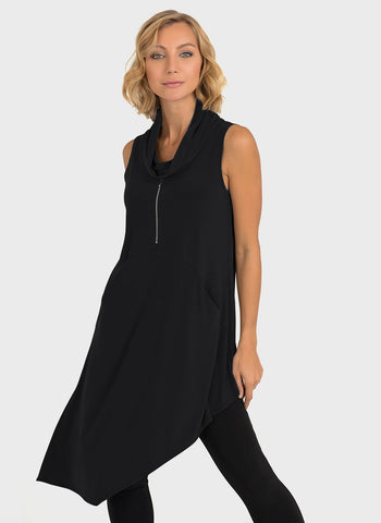ASSYMETRIC COWL NECK TOP WITH ZIP