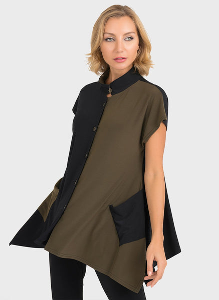 BUTTON FRONT COLOUR BLOCK TOP  WITH SHARK BITE HEM