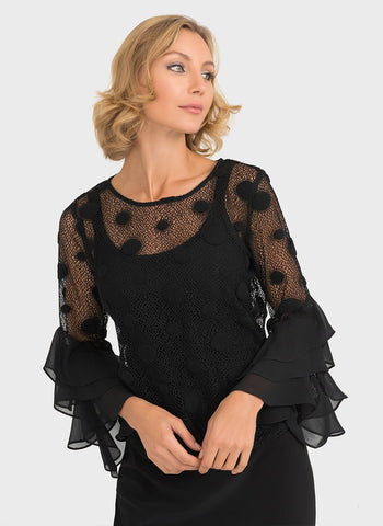 SHEER RUFFLED TOP WITH CAMI