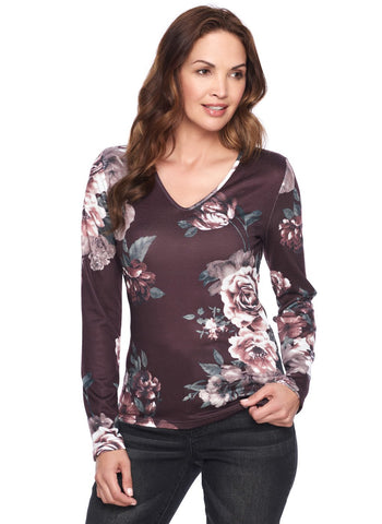V NECK FLORAL LONG SLEEVE TOP
