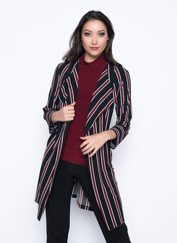 WINE STRIPED DUSTER