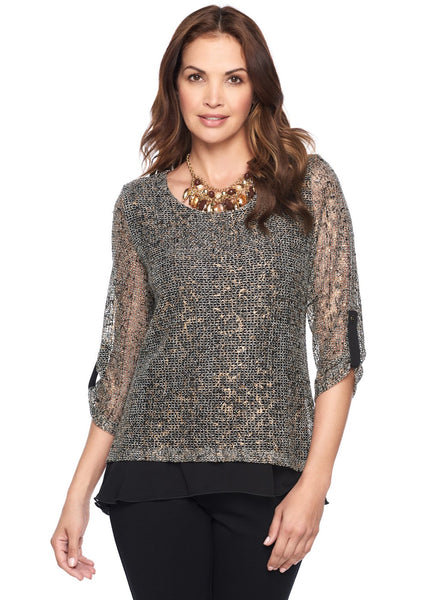 SHIMMER ANIMAL LAYERED TOP