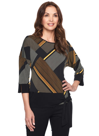MUSTARD STRIPE BANDED TOP