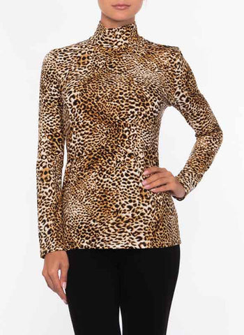 LEOPARD KNIT TURTLENECK