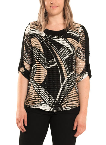 PRINTED MESH TOP WITH ROLL UP SLEEVE