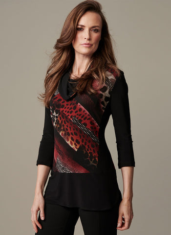 PRINT COWL NECK TUNIC WITH    OPAQUE CHIFFON SOLID DETAIL