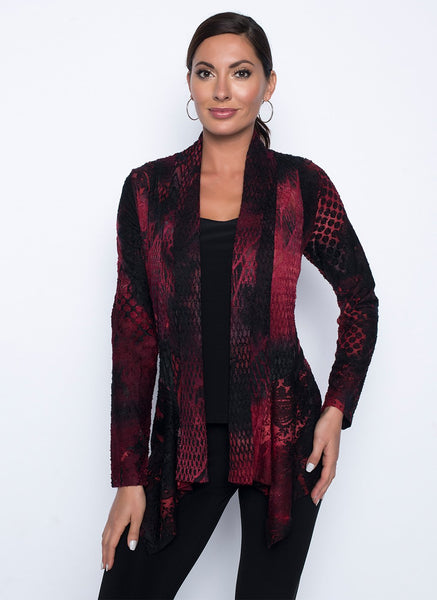RED/BLACK PATTERNED CARDI