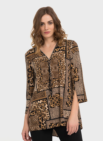 ANIMAL PATCHWORK BIG ZIP TOP