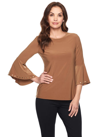 COGNAC FLUTTER SLEEVE TOP WITH STUD DETAIL