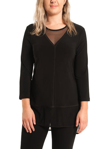 BLACK MESH DETAIL TUNIC